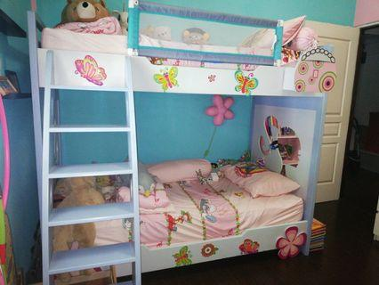 Double Decker Bed Sturdy. Exclude mattress. Barbie themed