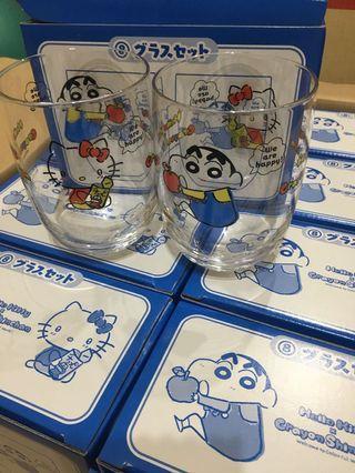 蠟筆小新 x Hello Kitty 一番賞 化妝袋 文件盒A 玻璃杯Set