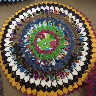 Vintage granny rag rug floral carpet bath mat kitchen towel