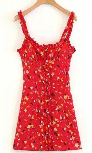Inspired red floral casual dress. FREE SHIPPING