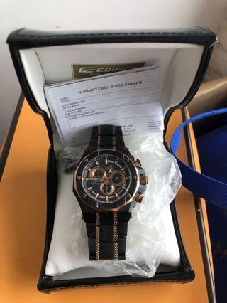 edifice watch black rose gold chronograph