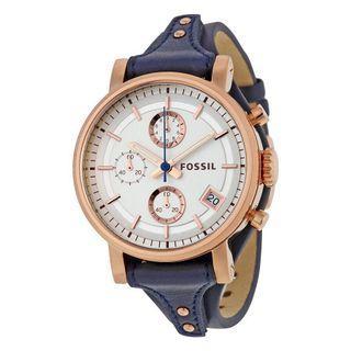 🚚 Fossil 美國正品購入es3838 玫瑰金框男女皮錶