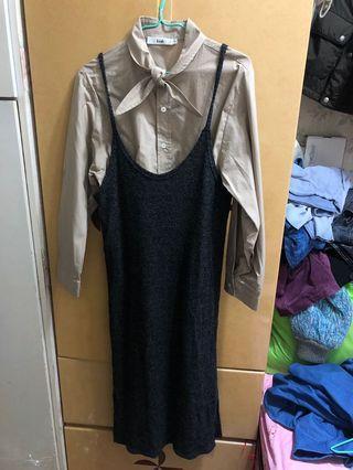 套裝 twinset 杏色恤衫 灰色連身裙