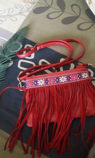 Fringe Red Sling Bag