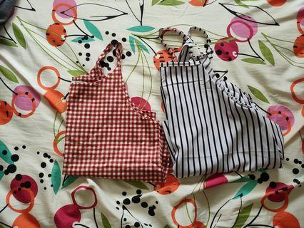 🚚 Red checkered camisole and stripes camisole