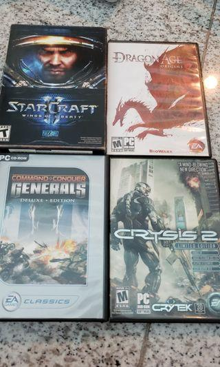 12 PC Games - Crysis Mass Effects StarCraft Dragon Age Command Conquer Fallout Assassins Creed Farcry BattleField Borderlands