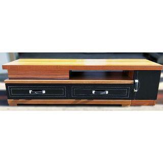 可伸縮電視櫃 仿馬鞍皮縫線抽屜 調整長度電視櫃 雙抽單門電視櫃