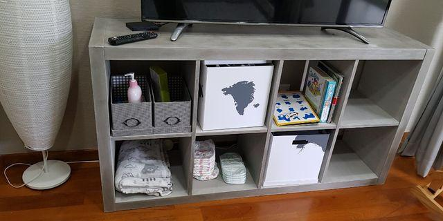 IKEA Kallax Shelf, painted grey