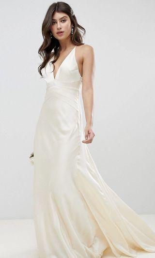 ASOS Edition Satin Panelled Wedding Dress Gown with Fishtail in Oyster