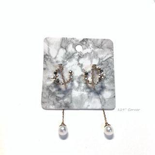 A145. 立體花後扣垂墜珍珠小鑽耳環