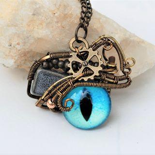 Blue Eye Pendant Wire Wrap Steampunk Evil Eye Necklace Street Dance Art Fashion