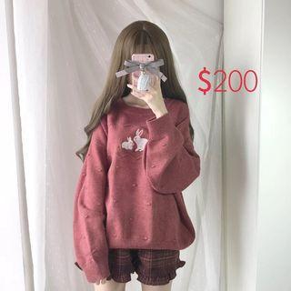 🚚 日系森女風 小高領刺繡毛衣