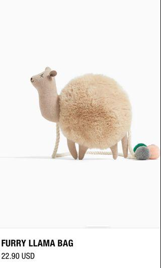 [ NEW ] ZARA furry llama fluffy cute bag
