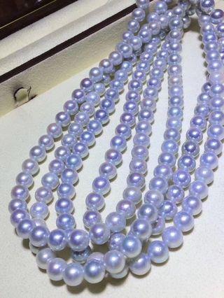 大特惠 秒殺🈹❗️ 8.5-9mm 日本珍珠Akoya 銀藍色頸鏈