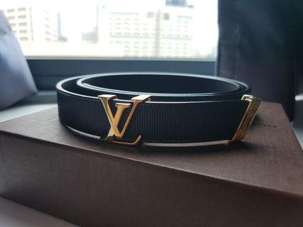 LOUIS VUITTON belt LV logo black x gold metal fittings leather x metal material waist belt thin lady's belt