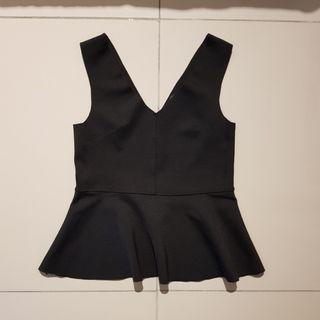 Topshop Black Peplum Top