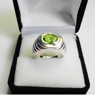 橄欖石Peridot 925銀 silver 銠金抛光 vintage women ring 女裝戒指 9 x 7mm