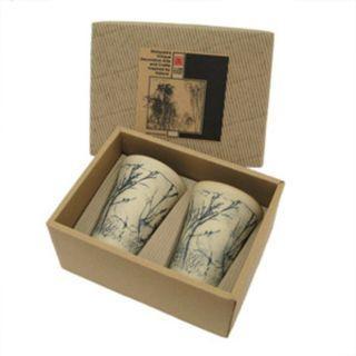 Set of 2 Tumblers or Japanese Beer Mugs - Twigs Design