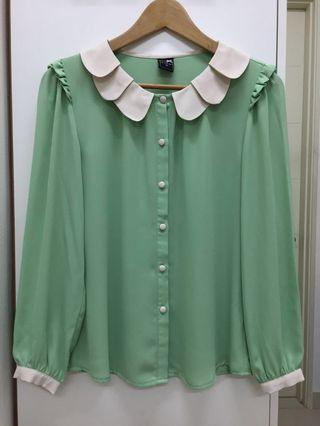 Lalu Green Long Sleeve Blouse with Scallop Collar