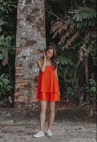 Yhf Duo tier dress in tangerine