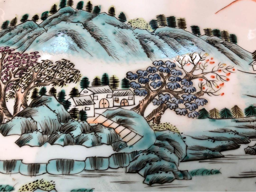 民國手繪茶盆、精工山水畫、無損、收藏價$1500