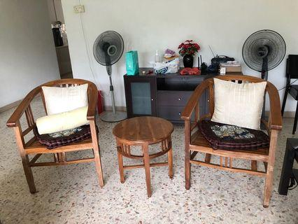 Teak table and chair