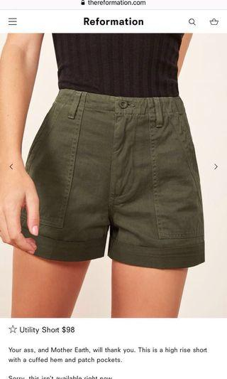 🚚 Reformation women's army shorts