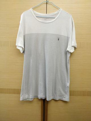 All Saints 男生白色短袖T恤 M 正品美國公司貨