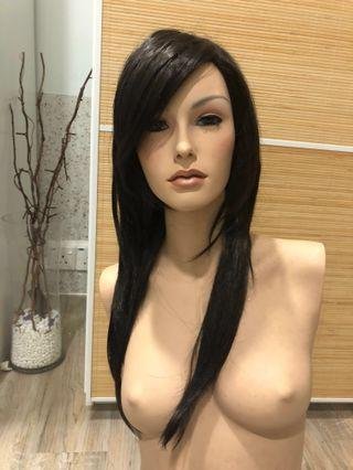 Women's straight hair with fringe mannequin wig head