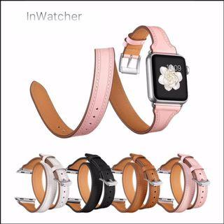 Apple Watch 真皮修身雙圈錶帶 Band 38,40,42,44 mm Leather Double Band for Apple Watch 1 -4 LTE