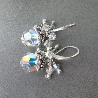 銀花水晶吊變色水晶耳環 手工打造70年代
