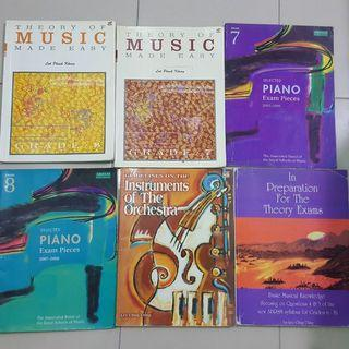 Piano music books (theory and exam pieces)