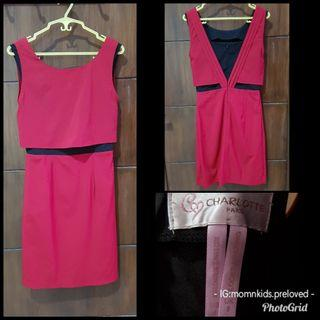 PRELOVED Dress Merah List Hitam