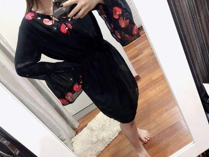 Embroidered tie front black dress
