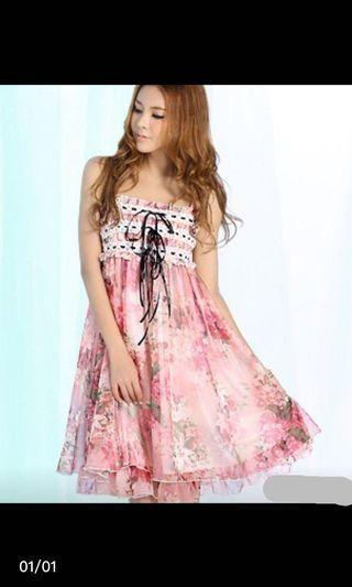 Floral chiffon dress, no bargaining