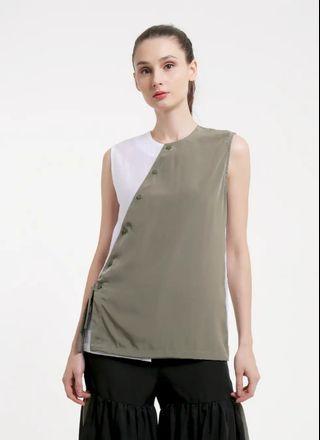 Atasan Baju Olive & White Sleeveless Blouse