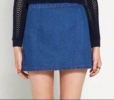 Blue Denim Skirt Zip A-Line