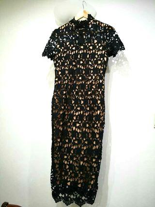 DOUBLEWOOT Black Lace Cheongsam