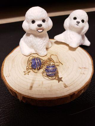 藍色螺旋星星耳環