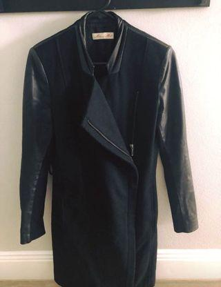 Alannah Hill black wool/leather trench coat