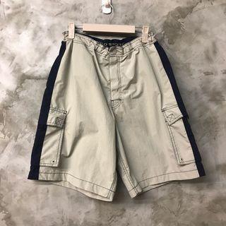 🚚 POLO SPORT 古著休閒海灘褲卡其底深藍邊條 腰圍平量34公分 可以穿到34腰 褲長52 褲口寬34