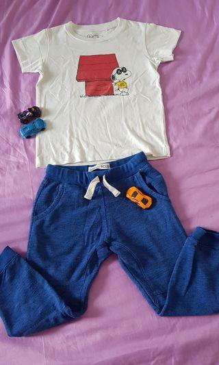 Uniqlo snoopy boy shirt and Cotton On pants