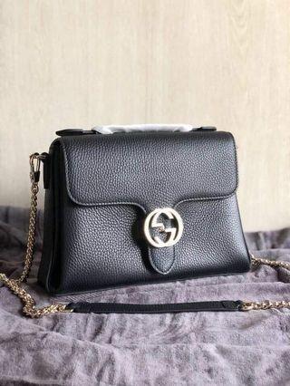 a6b2f732e7eee3 Gucci Interlocking G Buckle Convertible Chain Lea Black Leather Cross Body  Bag