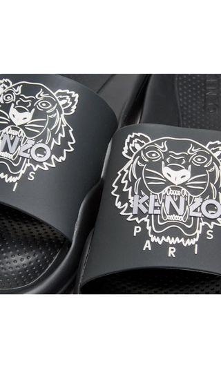 Kenzo Tiger Pool Slide Sandal Slipper Black