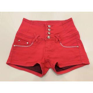 High Waist Red Short Pants