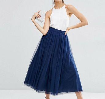 🚚 ASOS Navy Tulle Multi Layer Midi Skirt