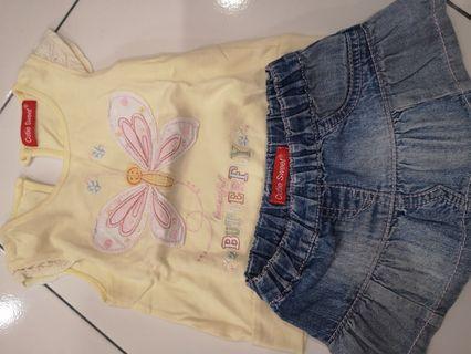 Cutie Sweet Dress Jean skirt and shirt