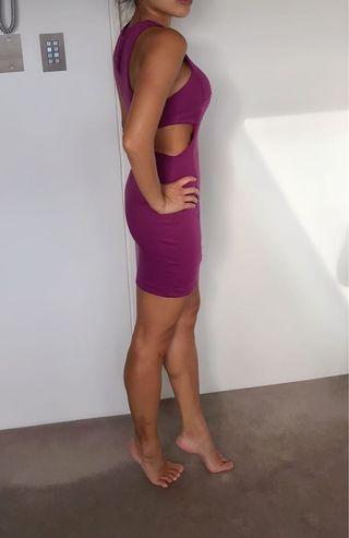 ASOS petite purple body con cut out dress xs or 6
