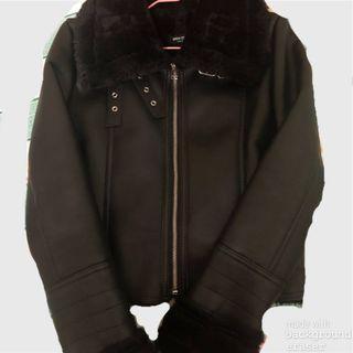 Black fur lining mustang jacket