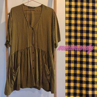 ZARA yellow checked button front skater dress gingham short sleeves with pockets